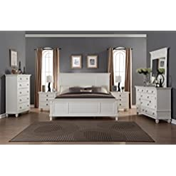 Bedroom Roundhill Furniture Regitina 016 White King Bed, Dresser, Mirror 2 Nightstands, Chest Bedroom Furniture Set, modern bedroom furniture sets