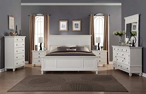 Roundhill Furniture B016KDMN2C Regitina 016 White King Be...