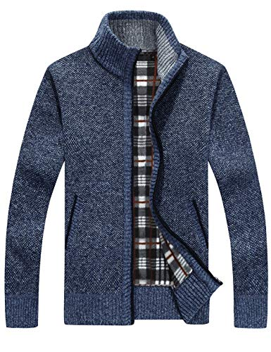 - Yeokou Men's Casual Slim Full Zip Thick Knitted Cardigan Sweaters with Pockets (Small, Blue)