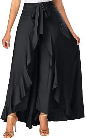 FELZ Falda Larga Mujer Falda Mujer Fiesta Falda para Mujer Cremallera Lateral Corbata Superposición Frontal Pantalones Falda con Volantes Arco Falda ...