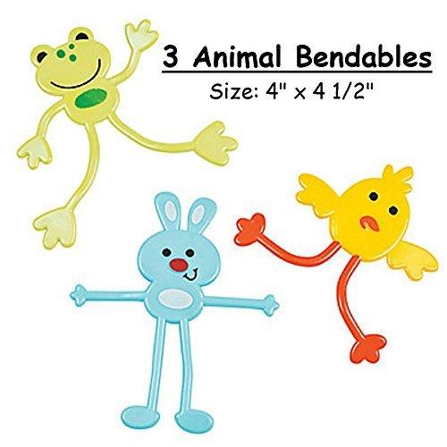 3 ~ Animal Bendables ~ Frog / Bunny / Chick ~ 4 1/2