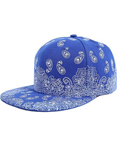 SSLR Men's Paisley Printed Snapback Baseball Caps (One Size (7 1/8 - 7 1/4), Blue)
