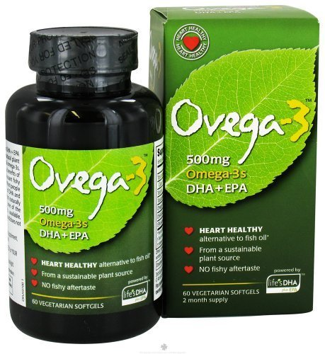 Ovega-3 Vegetarian Softgels, 500 mg, 60 Count (60 X 3)