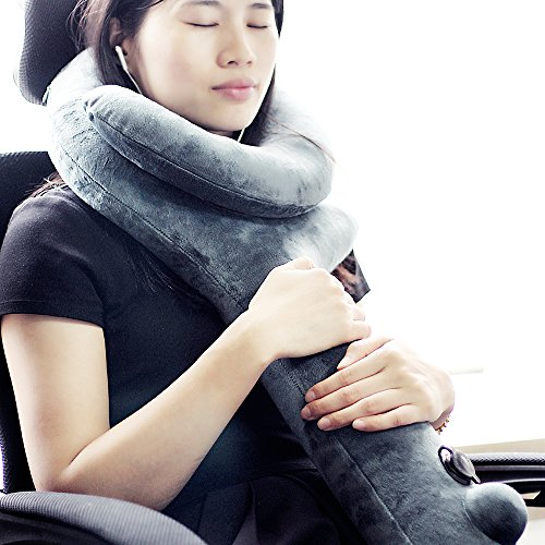 Travel Pillow Super Sleeping Hold, VenusCare Neck Chin Support Pillow Soft Velvet Q shape Inflatable Adjustable Grey-green - Chin Of Shapes Types