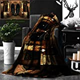 Ralahome Unique Custom Double Sides Print Flannel Blankets Gothic House Decor Dark Mystic Ancient Hall Pillars Christian Cross Dome Super Soft Blanketry Bed Couch, Throw Blanket 60 x 50 Inches