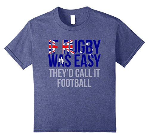Kids Funny Australian Rugby T Shirt - Australia Rugby Shirt 8 Heather Blue (Shirt Home Australia Rugby)