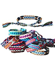 Tangser Nepal Woven Friendship Bracelets with a Sliding Knot Closure for Women, Kids, Girls and Men - Adjustable - Mix Color Random(Pack of 12)