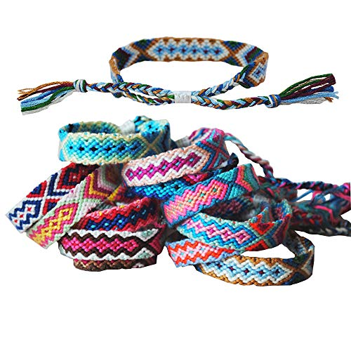 Tangser Nepal Woven Friendship Bracelets with a Sliding Knot Closure for Kids, Women, Girls and Men - Adjustable - Mix Color Random(Pack of 12)]()