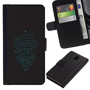 // PHONE CASE GIFT // Moda Estuche Funda de Cuero Billetera Tarjeta de crédito dinero bolsa Cubierta de proteccion Caso Samsung Galaxy Note 3 III / MINIMALIST MAZE PATTERN /