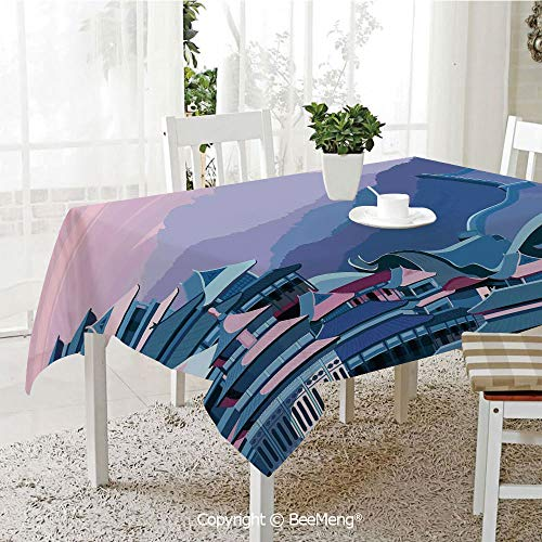 (BeeMeng Large dustproof Waterproof Tablecloth,Family Table Decoration,Great Wall of China,Digital Dated Popular Monument with Futuristic Effects Graphic Art,Navy Lavender,70 x 104)