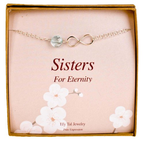 Infinity Bracelet for Sisters or Bridesmaids - Sterling Silver and Light Blue Stone Bridal Party Gift ()