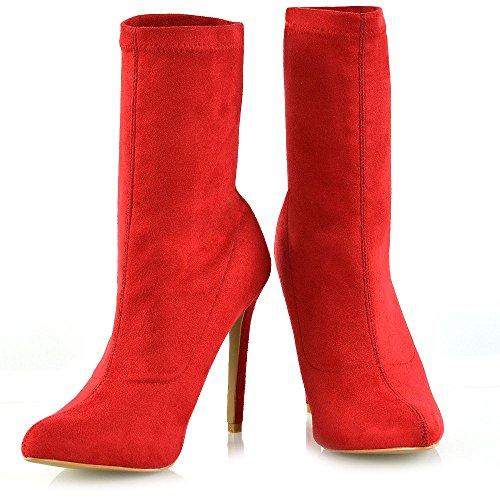 Stivali Su Tacco Tirare ESSEX GLAM In Finto Scamosciato Stiletto Alto Rosso Le signore Donna Stivaletti Tacco 0nAIgq