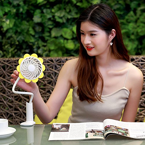 Fashion Portable Micro USB Fan With Bendable Clip Adjustable Sunflower Shape Rechargeable Cooling Mini Clip Fan For Home Office Travel by Boens (Image #5)