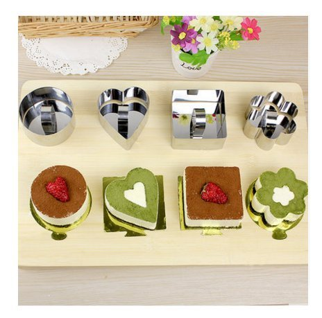 Astra Shop Stainless Steel Cake Mousses Cutters (Set of 4) / Heart& Flower & Circle & Square Shaped Mousse Cake Molds for Desserts Making