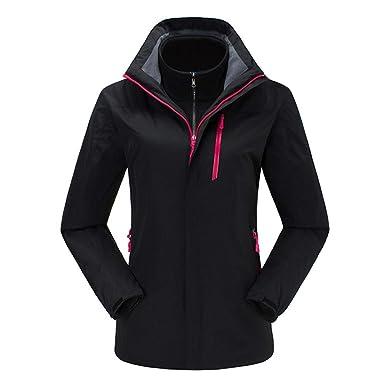 Insun Womens Warm Waterproof Outdoor Fleece 3-in-1 Hooded Jacket Raincoat Black 0