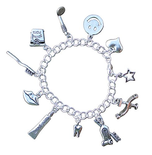 Night Owl Jewelry Dental Charm Bracelet- Pewter Dentist Toothpaste Toothbrush Floss Charms- Silver Plated Chain- Size S (7 Inches - Pewter Floss
