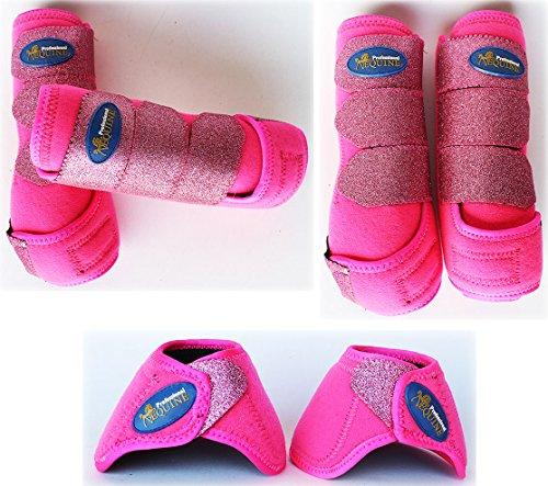 Horse Medium Professional Equine Sports Medicine Splint Boots Glitter Bell 4138D - Pink Horse Bell Boots