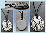Chi Rho Necklace Stone Ceramic Pendant Good Fortune Pagan Jewelery Pottery Amulet Chronos God of Time