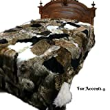 Plush Faux Fur Bedspread or Duvet - Mixed Animal Pelt Patchwork - Shag - Premium Quality - USA - Minky Fur Lining - All Sizes