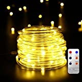 Led Rope Lights, 10M Tube Lights with 8 Modes, Waterproof Strip Lights with 136 LEDs, Mains Powered String Lights for Christmas Decorations, Tree Wedding Party Path Garden Patio Outdoor Halloween Decoration by Malivent(Warm White)
