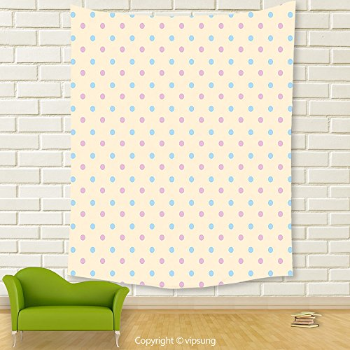 Vipsung House Decor Tapestry_Polka Dots Collection Retro Polka Dots Small Coin Sized Little Spots Old Epochs Fashion Pattern Cream Blue Pink_Wall Hanging For Bedroom Living Room (Little Alchemist Halloween)
