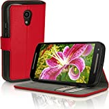 iGadgitz Premium Wallet Flip Red PU Leather Case Cover for Motorola Moto G 2nd Generation 2014 XT1068 (G2) With Card Slots + Multi-Angle Viewing stand + Magnetic Closure + Screen Protector