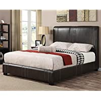 Caleb Upholstered Bed in Dark Brown (King)