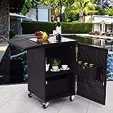 Giantex Brown Rattan Wicker Kitchen Trolley Cart