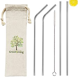 Extra long metal drinking straw, reusable stainless steel straw kit of 4 pack, 10.5 inch 2 straight & 2 bendy straw with 1 straw brush for 40, 30, 18 oz tumbler, Yeti, mason jar