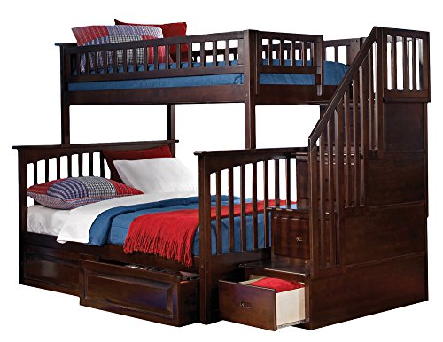 Columbia Staircase Bunk Bed with 2 Raised Panel Bed Drawers, Twin Over Full, Antique Walnut (Trundle Bed Antique Walnut)