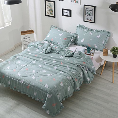 KFZ Summer Quilt Washed Cotton Comforter for Bed Set No Pillow Covers CA Twin Full Queen Princess Magic Animals Pink Purple Design for Kids Girls One Piece (Alpaca, Green, Twin, 59''x79'') by KFZ