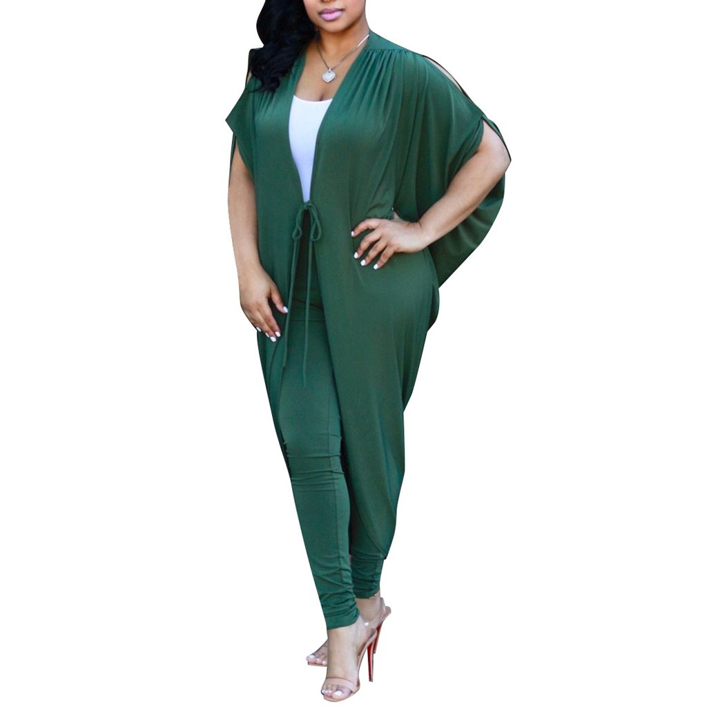 Kafiloe 2 Piece Outfits for Women Casual Batwing Sleeve Cape Cover Up Skinny Long Pants Set Clubwear Green XL