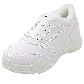 LuckyGirls Zapatillas De Correr para Mujer Forrada de Piel Calzado Deportivo Zapatos con Cordones Casuales Zapatillas De Suela Gruesa: Amazon.es: Deportes y ...