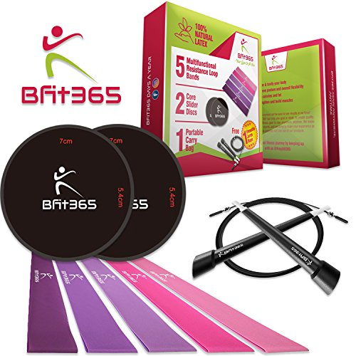 Bfit365 5 quality resistance bands with dual core sliders for high/low intensity training | Free Jump rope included for cardio |Total body workout at home, gym &/or the go. by Bfit365
