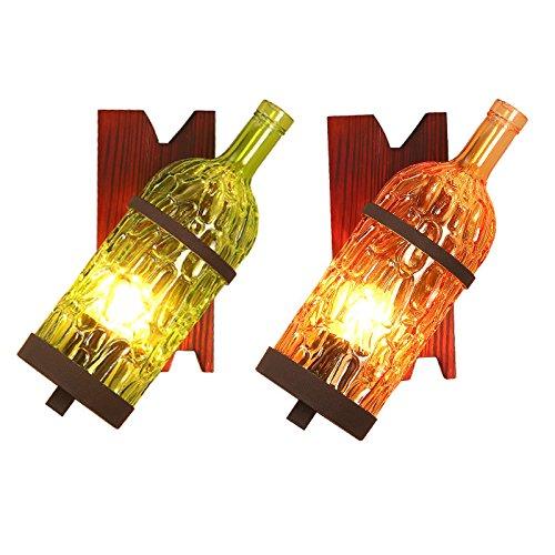 WHH Retro lámpara/lámpara/creativas botellas de vino antiguo pasillo luces/escaleras/single y doble cabeza/americano estilo cafetería/bares/pared aplique ...