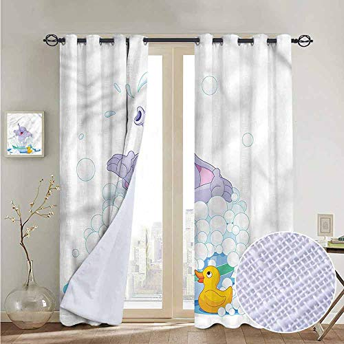 NUOMANAN Window Blackout Curtains Nursery,Elephant Takes Bubble Bath,for Room Darkening Panels for Living Room, Bedroom 100