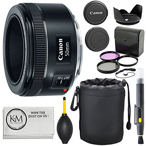 Canon EF 50mm f/1.8 STM Lens + 3pc Filter Kit with Lens Pen, Blower, Hood, Lens Pouch, Cap Keeper