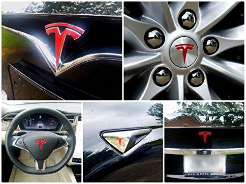 - EV Wraps Tesla Model S New Fascia Logo Decal Bundle - Gloss Red