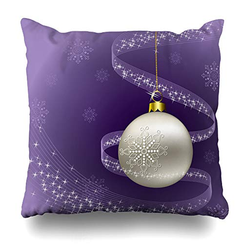 (Ahawoso Throw Pillow Cover Merry Purple Christmas Holidays Blue Bright Ribbon Abstract Ball Celebration Design Round Decorative Cushion Case 18x18 Inches Square Home Decor Pillowcase)