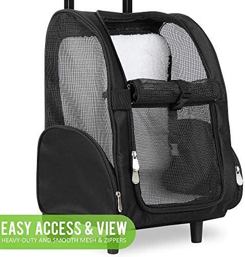 Mochila de viaje de lujo para mascotas con ruedas dobles color negro aprobado por la mayoría de aerolíneas 6