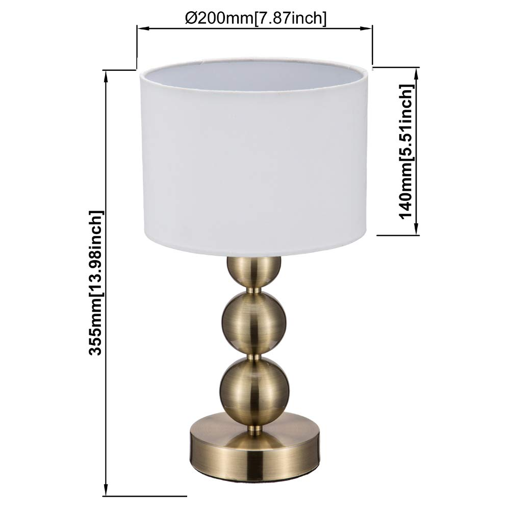 JINZO Portable Touch Table Lamp Dimmable With Fabric Shape Antique Brass Finished.