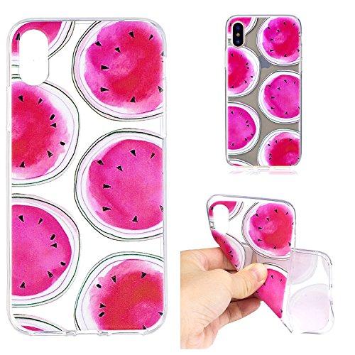 iPhone X Hülle , Leiai Modisch Wassermelone TPU Transparent Weich Tasche Schutzhülle Silikon Handyhülle Stoßdämpfende Schale Fall Case Shell für Apple iPhone X