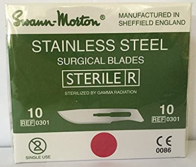 Swann-Morton® #10 Sterile Surgical Blades, Stainless Steel [individually packed, box of 100]