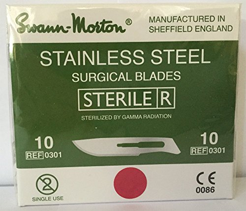 Swann-Morton® #10 Sterile Surgical Blades, Stainless Steel [individually packed, box of 100] (Sterile Blades Surgical Steel)