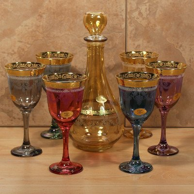 Lorenzo Import 7 Piece Veneziano Bottle and Glass Set, Multicolor