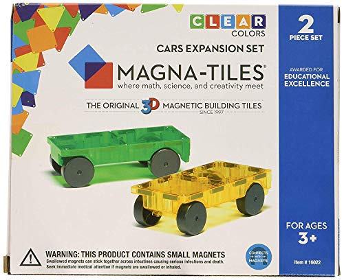 Magna-Tiles 32-Piece Clear Colors Set - The Original, Award-Winning Magnetic Building Tiles - Creativity and Educational - STEM Approved Bundled 2-Piece Car Expansion Set by Magna-Tiles (Image #2)