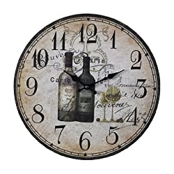 Sterling Home Wood French Wine Bottles Clock