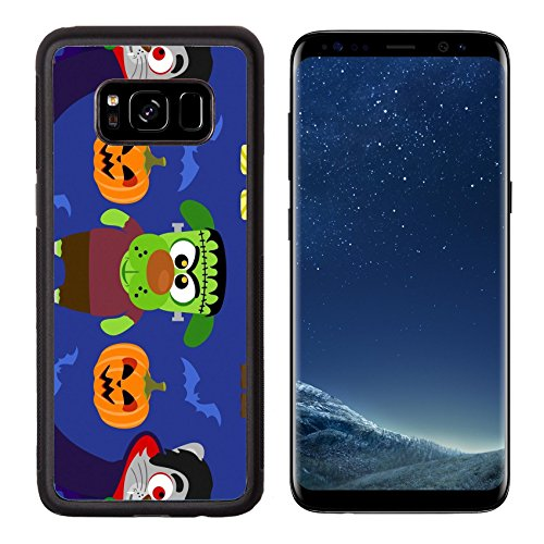 Luxlady Premium Samsung Galaxy S8 Aluminum Backplate Bumper Snap Case IMAGE ID: 31870702 Seamless with animal in Halloween (Dracula Images Costumes)