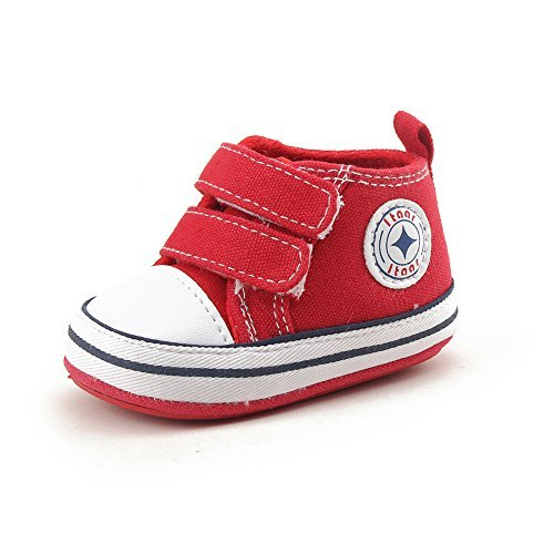 Baby Canvas Sneaker Infant Toddler Dual Strap Trainer Anti-Skid Rubber Sole Prewalker Shoes for indoor outdoor walkin