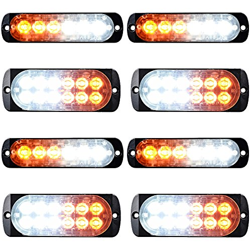 - Combo Amber White 4X 12-LED 4pcs 6-LED Car Tow Truck Emergency Warning Beacon Plow Safety Strobe Light Bar